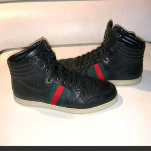 Gucci Leather High Top Sneakers Size 8
